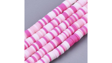 Rondel 4 mm disco arcilla Rosa Mix - 4x1 mm- Hilera de 38 cm - 400 uds aprox