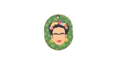 Frida- Colgante madera verde 30x24 mm