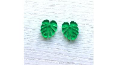 Plexy verde- Colgante hoja tropical mostera peque 20x17 mm, int 1.5 mm