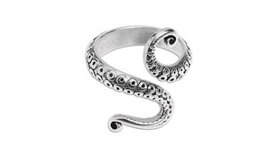 Anillo pulpo tentaculos Zamak baño de plata 28x22 mm