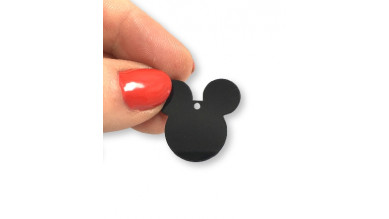 Plexy negro -  Colgante charm plexy cabeza raton  25x22 mm