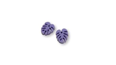Plexy lila pastel- Colgante hoja tropical mostera mini 10x8 mm, int 1 mm
