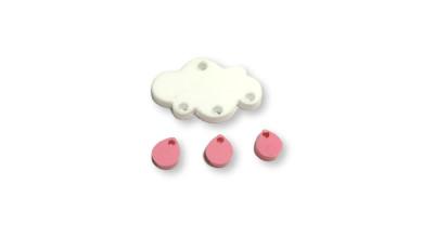 Colgante mini gota de plexy rosa pastel 7 mm ( para combinar con las nubes PXC-101) - 1 unidad