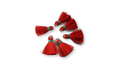 Mini-Pompon borla hilo algodon rojo hilo turquesa 15 mm