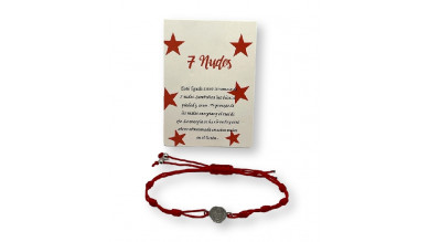 Pulsera roja de los 7 nudos con medallita ( protege de las malas energias)