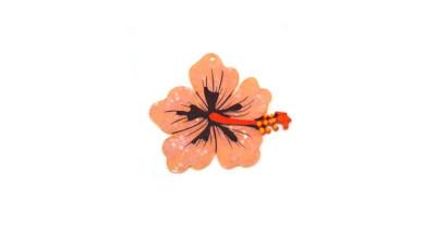Plexy estampado - Colgante flor hibisco rosa grande 68x62 mm