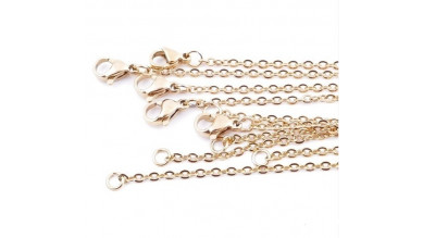 Cadena collar gargantilla acero dorado eslabon oval 2 mm - 60 cm