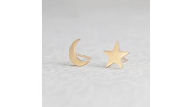 Estrella y luna 8 mm - Pendientes acero inoxidable dorado - 1 par