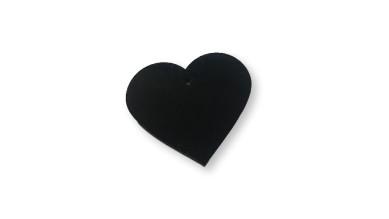 Plexy negro- Colgante corazon 35x38 mm, int 1.5 mm