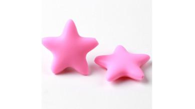 Figurita de silicona- Estrella 38mm- Color Rosa claro 03