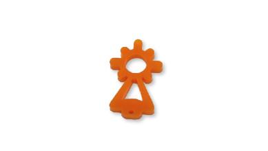 Plexy naranja - Entrepieza Virgen del Pilar 25x13 mm