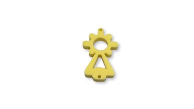 Plexy amarillo pastel - Entrepieza Virgen del Pilar 25x13 mm