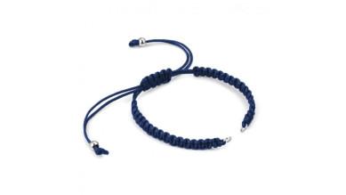 Pulsera base Azul Marino macrame con cierre nudo ajustable y detalles de acero