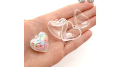 Bola corazon plástico transparente 4 cm ( ideales decoración Navidad)-  PREVENTA DTO AL 25%