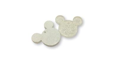 Colgante charm plexy cabeza raton transparente glitter 25x22 mm