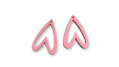Aplique metacrilato plexy corazon rosa pastel hueco invertido 29x19 mm, int 1.2mm  - 2 uds