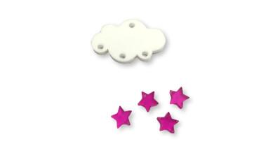 Colgante mini estrella de plexy fucsia 7 mm ( para combinar con las nubes PXC-101) - 1 unidad