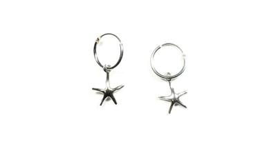 Aros plata ley 12 mm con estrella de mar 13x11 mm