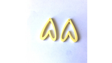 Aplique metacrilato plexy corazon amarillo pastel hueco invertido 29x19 mm, int 1.2mm  - 2 uds