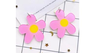 Colgante flor margarita de plexy rosa 36x38 mm