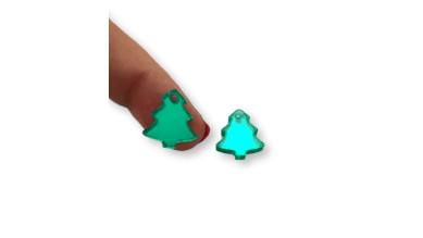 Plexy verde espejo - Colgante arbol navidad peque 15x13 mm, int 1.5 mm