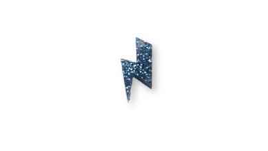 Plexy azul glitter - Colgante rayo 20 mm, int 1.5 mm