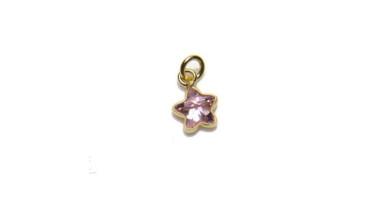 Colgante Plata de Ley baño oro y Circonitas - Estrella mini 5 mm (Light Rose)