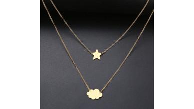 Cadena gargantilla acero dorado doble altura con nube y estrella