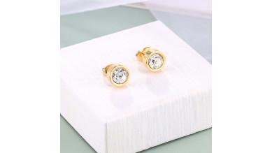 Circonitas blancas 4 mm - Pendientes acero inoxidable dorado- 1 par