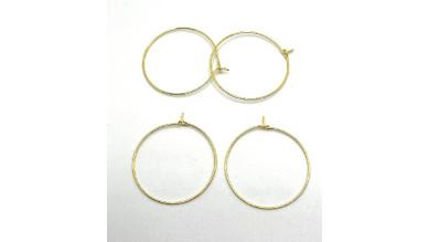 Base pendiente acero  inoxidable dorado - Aros 35 mm- 2 pares