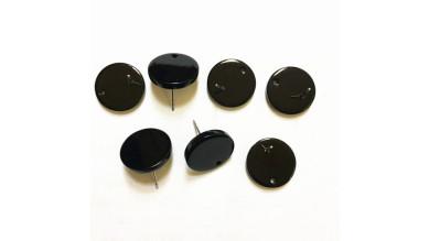 Base de pendiente acero y resina - Moneda negra 16 mm (1 par, incluye traseras)