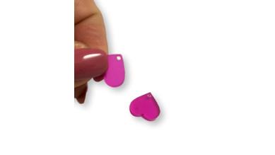 Aplique metacrilato plexy corazon fucsia 14x13 mm, int 1.2mm  - 2 uds