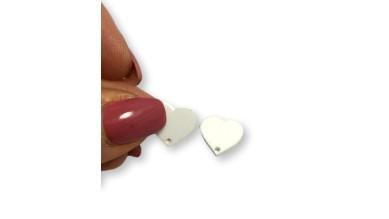 Aplique metacrilato plexy corazon blanco 14x13 mm, int 1.2mm  - 2 uds