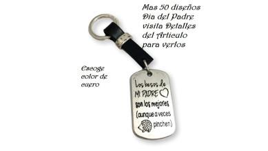 Llavero terminado Papa ( Dia Padre)- Modelo 4 ( Cuero y placa Zamak)