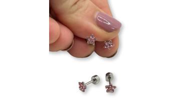 Estrella 5 mm circonitas rosas con cierre de rosca - Pendientes acero inoxidable plateado - 1 par