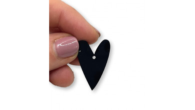 Plexy negro - Colgante corazon pico 28x20 mm, int 1.5 mm