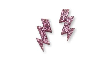 Plexy rosa glitter - Colgante rayo triple 30 mm, int 1.5 mm