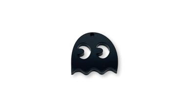 Plexy negro - Colgante comecocos fantasma 22x21  mm, int 1.5 mm