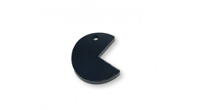 Plexy negro - Colgante comecocos pacman   22x20 mm, int 1.5 mm
