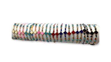 Pulsera de macrame con cruz y tupis de multicolor ( escoger)