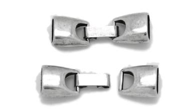 Cierre ZAMAK baño plata grapa cuero palote 42x13mm, int 10x4.5 mm