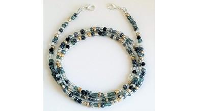 Cuelgamascarillas  - 50 cm - Tonos gris, plata, negro y dorado