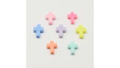 Cruz acrilica colores pastel 17x12x5 mm.Taladro 2 mm ( 10 uds)