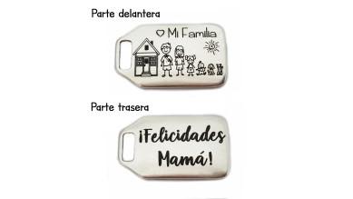 Colgante Zamak baño plata- Felicidades Mama ( mi familia con dibujitos). (zc807)