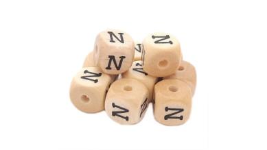 Cubo letra madera carvada Premium 10x10 mm (TIMES) - Letra N