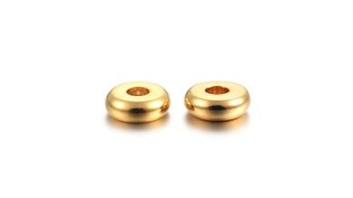 10 uds- Entrepieza acero rondel dorado espaciador disco platillo 4 mm