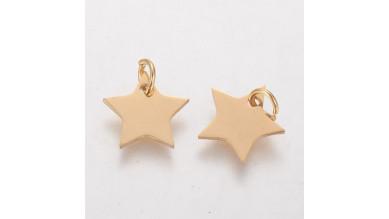 Estrella acero dorado 12 mm con anilla 4 mm ( grabar)