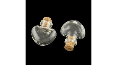 2 botes cristal miniatura corazón 23x28mm  tapón corcho 1 ml