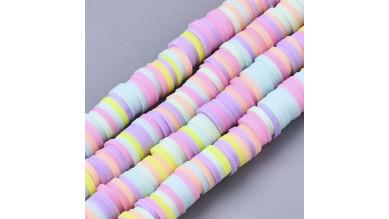 Rondel 6 mm disco arcilla MIX colores pastel - 6x1 mm- Hilera de 38 cm - 380 uds aprox
