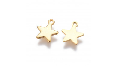 Colgante estrella estrellitas de acero inoxidable dorado 11.5x9.5 mm, int 1.4 mm